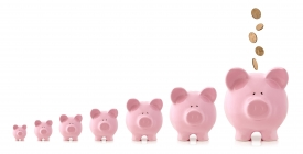 6 piggy banks orders from smallest to largest depicting increased savings