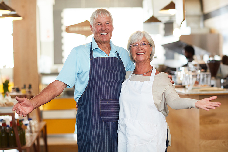 A retired couple enjoying entrepreneurship in their food shop
