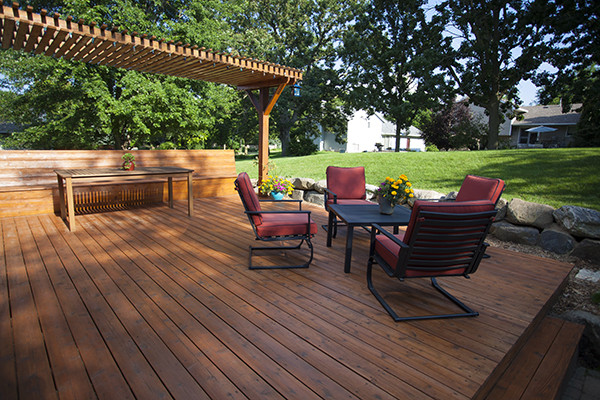 A newly built deck with patio furniture