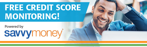 A banner depicting free credit score monitoring using SavvyMoney